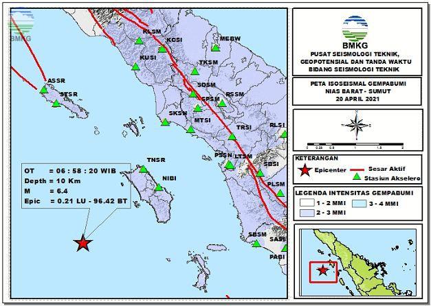 Peta Isoseismal Gempabumi Nias Barat, Sumut 20 April 2021