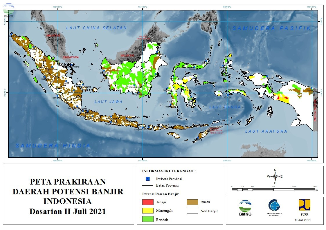 Prakiraan Daerah Potensi Banjir Dasarian II - III Juli dan Dasarian I Agustus 2021