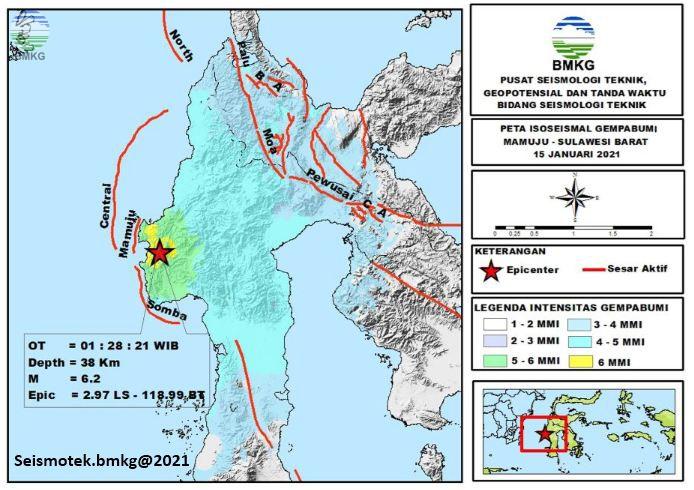 Peta Isoseismal Gempabumi Mamuju - Sulawesi Barat 15 Januari 2021