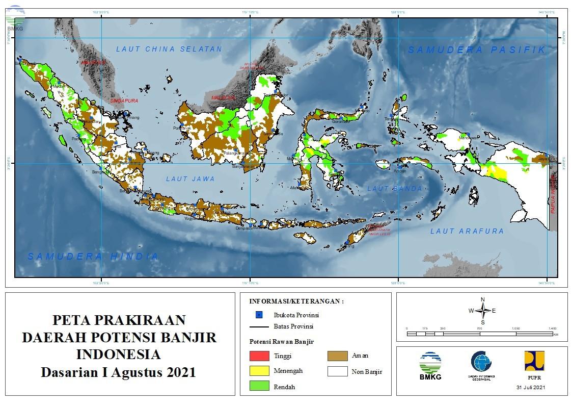 Prakiraan Daerah Potensi Banjir Dasarian I-III Agustus 2021