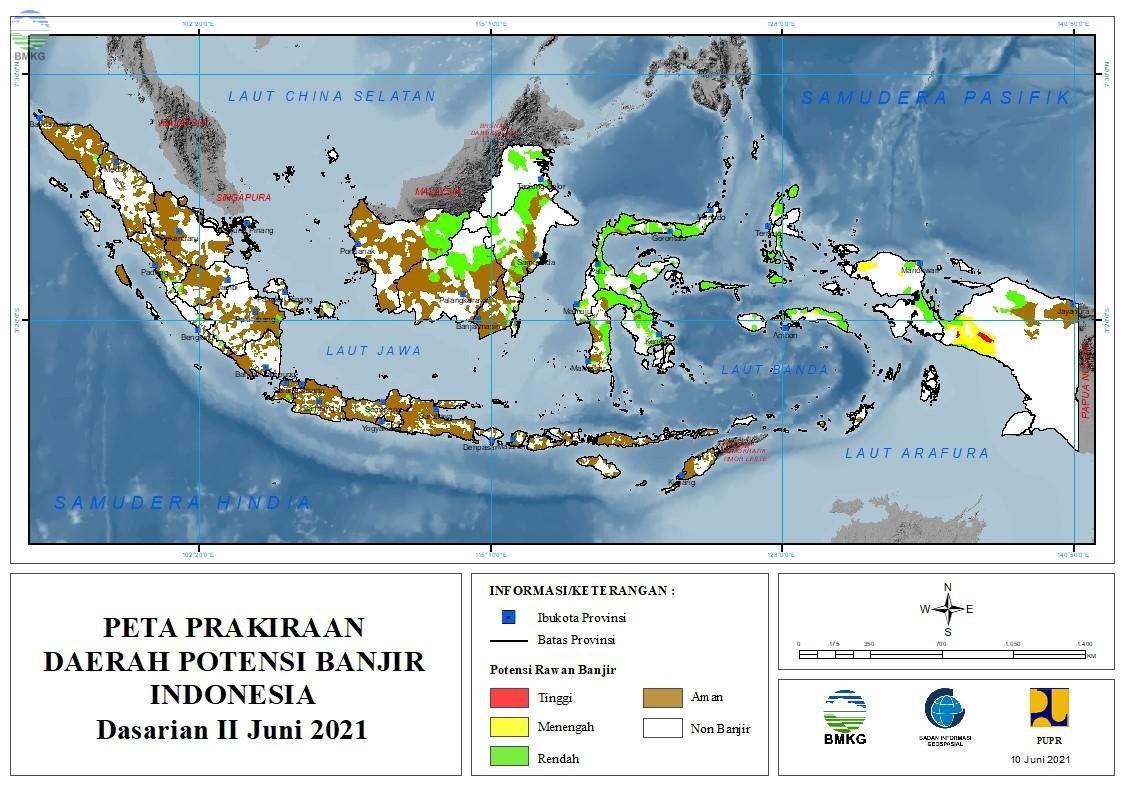 Prakiraan Daerah Potensi Banjir Dasarian II-III Juni dan Dasarian I Juli 2021