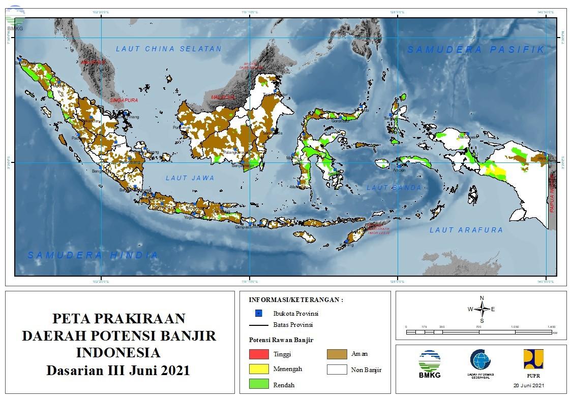 Prakiraan Daerah Potensi Banjir Dasarian III Juni dan Dasarian I-II Juli 2021