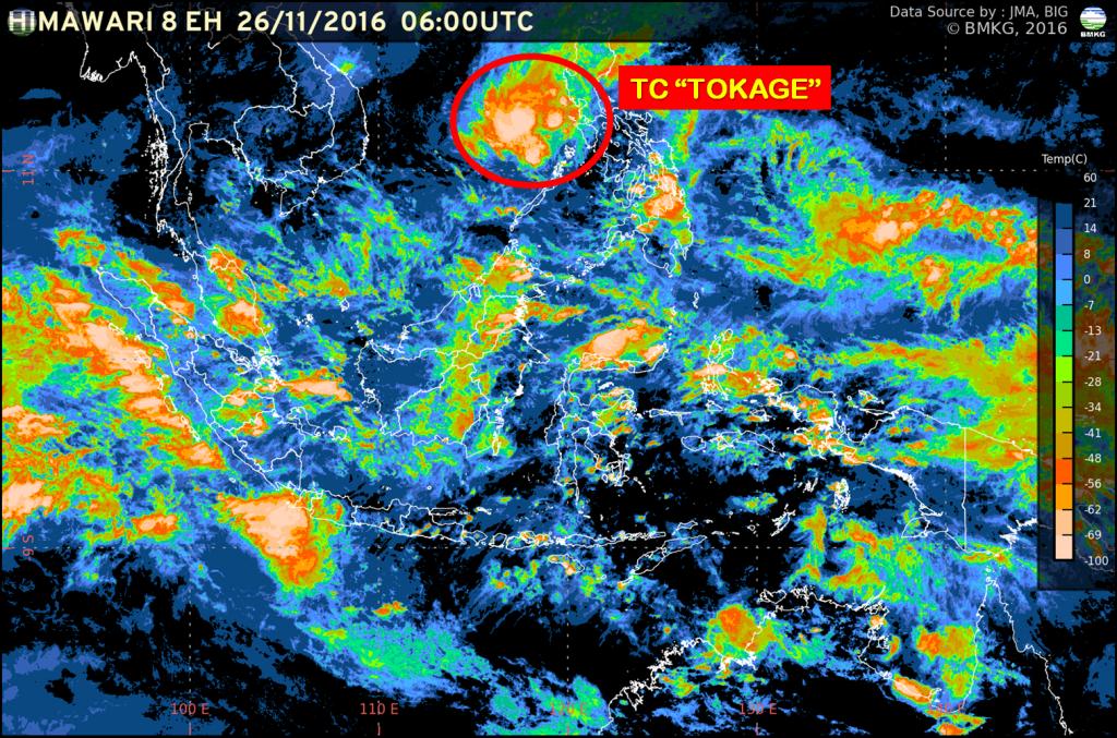Peningkatan Potensi Hujan Lebat di Indonesia 26 November - 1 Desember 2016