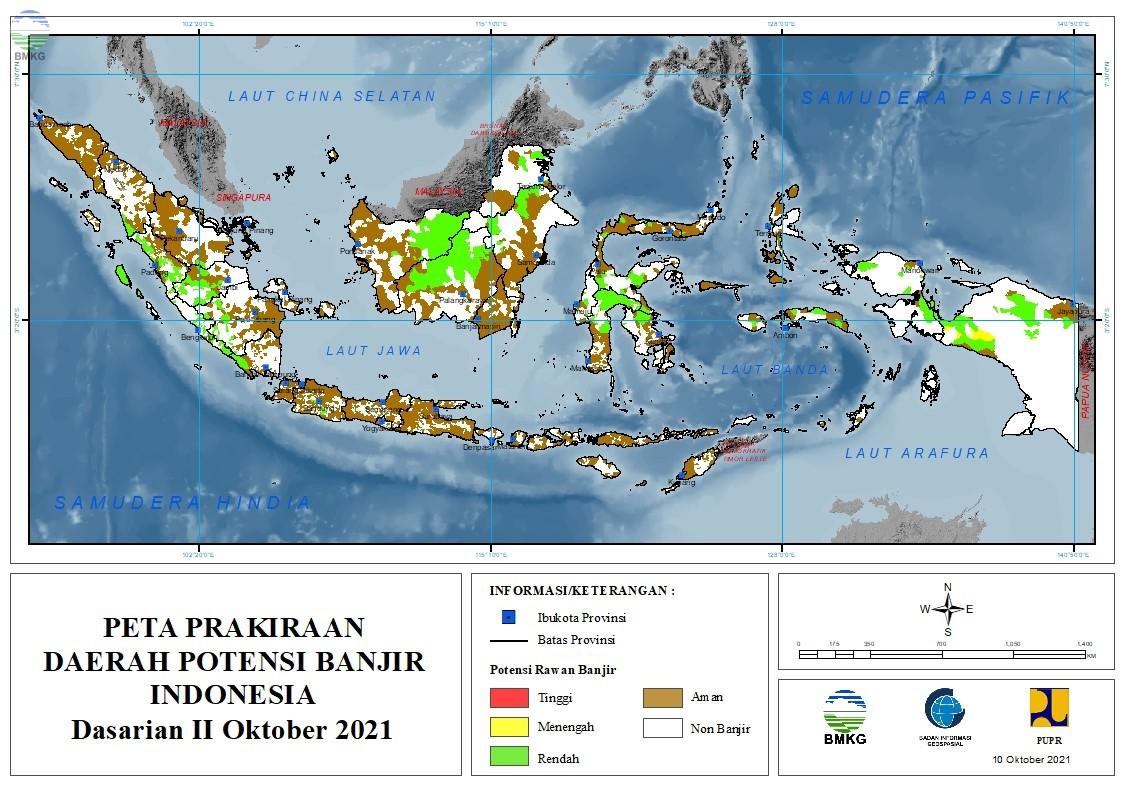 Prakiraan Daerah Potensi Banjir Dasarian II-III Oktober dan I November 2021