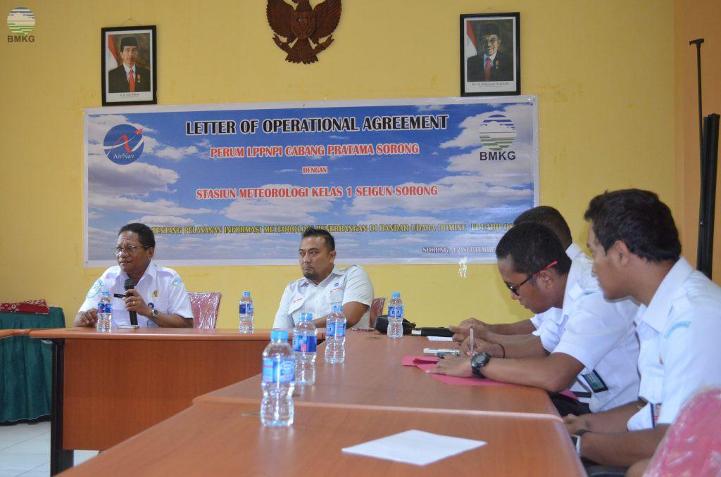Penandatanganan LOA antara AIRNAV dan BMKG Stasiun Meteorologi Sorong