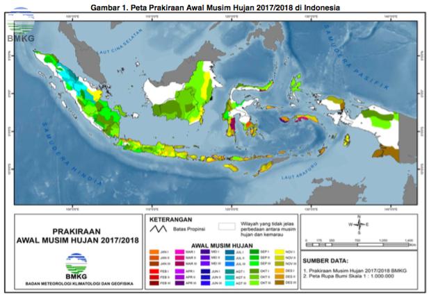 Prakiraan Musim Hujan 2017 di Indonesia