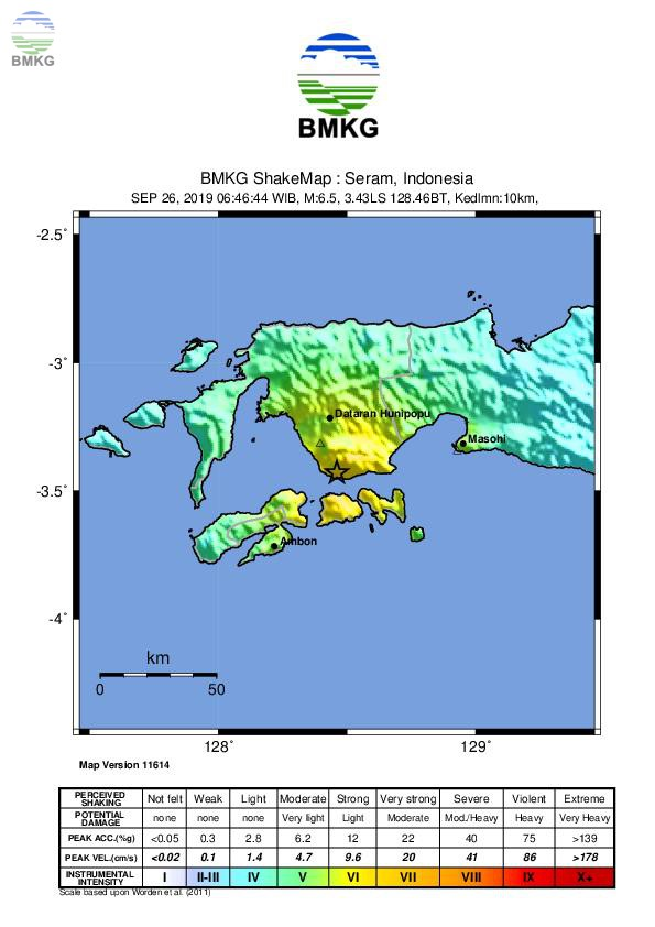 Ulasan Guncangan Tanah Akibat Gempabumi di Ambon Maluku 26 September 2019