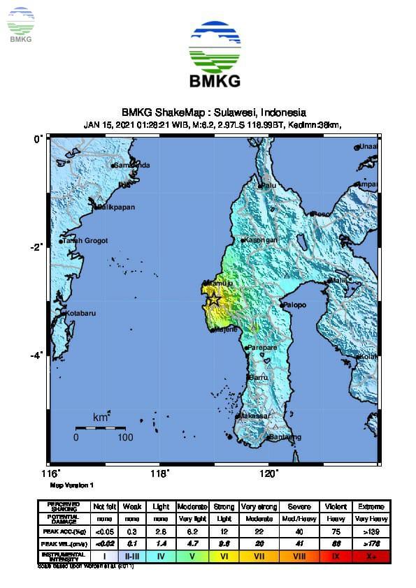 Ulasan Guncangan Tanah  Akibat Gempa Mamuju Sulawesi Barat 15 Januari 2021