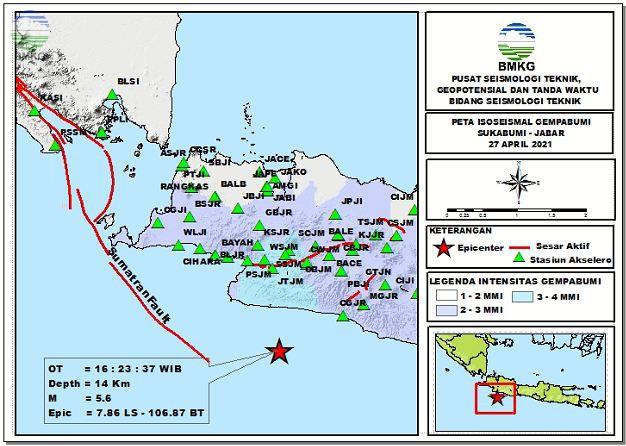 Peta Isoseismal Gempabumi Sukabumi, Jawa Barat 27 April 2021