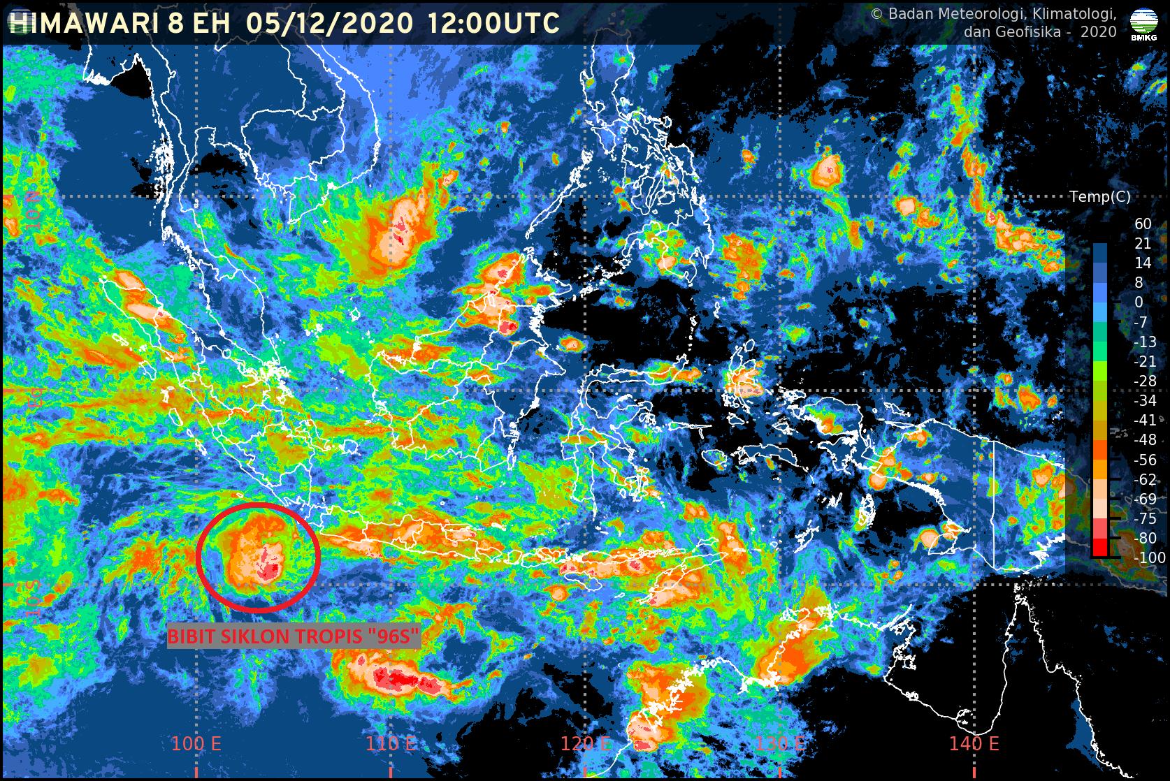 """Bibit Siklon Tropis """"96S"""" di Samudra Hindia Sebelah Selatan Banten Berpotensi Tingkatkan Curah Hujan"""