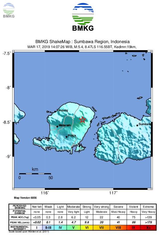 Ulasan Guncangan Tanah Akibat Gempabumi Lombok Timur 17 Maret 2019