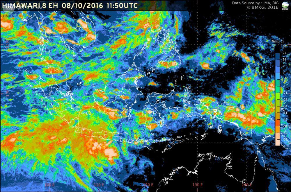 Waspada Potensi Hujan Lebat di Wilayah Indonesia 8 - 11 Oktober 2016