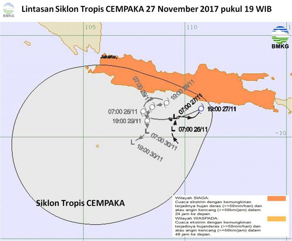 """Siklon Tropis """"CEMPAKA"""" Lahir, Siaga Cuaca Ekstrem 3 Hari Ke Depan"""