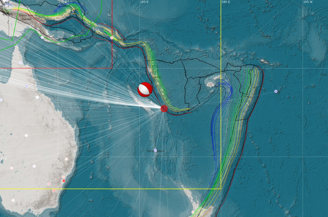 Gempabumi di Tenggara Kepulauan Loyalty-New Caledonia Tanggal 5 Desember 2018 Berkekuatan Mw 7,6 Tidak Berpotensi Tsunami di Wilayah Indonesia