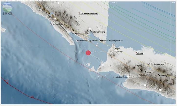 Kamis Sore 10 Januari 2019 Terjadi Aktivitas Gempa Beruntun di Selat Sunda, Tidak Berpotensi Tsunami