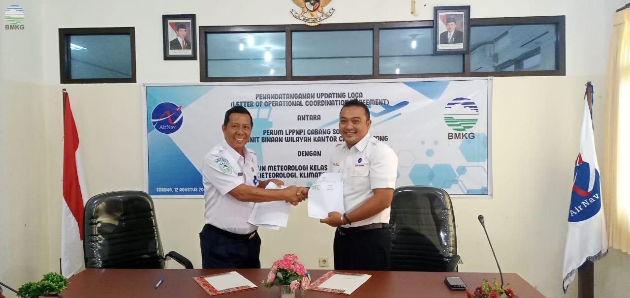 Perjanjian Koordinasi Operasional antara LPPNPI Cabang Sorong dengan Stamet Seigun Sorong