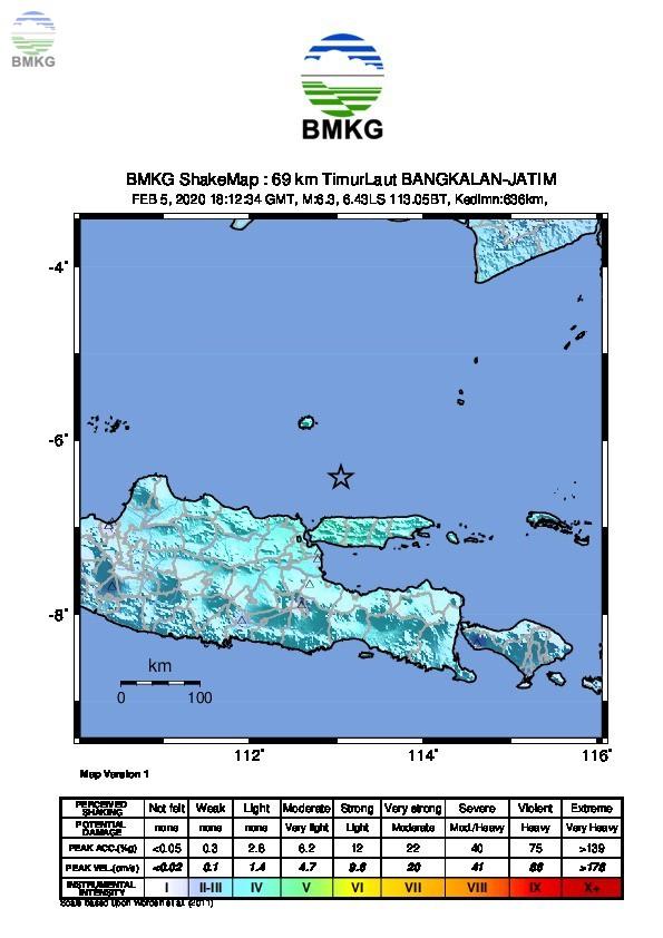 Ulasan Guncangan Tanah Akibat Gempabumi di Laut Bangkalan 06 Februari 2020