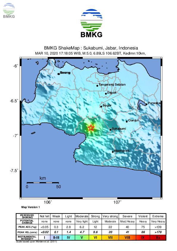 Ulasan Guncangan Tanah Akibat Gempabumi di Sukabumi 10 Maret 2020