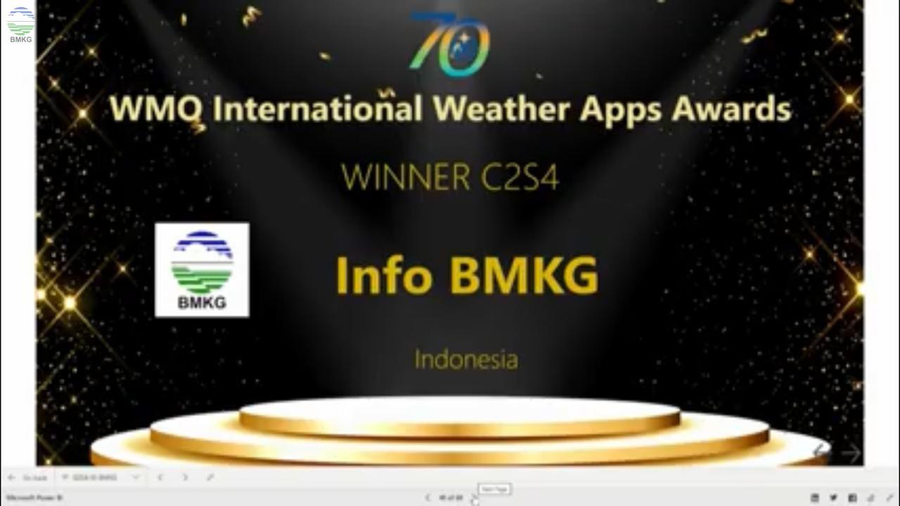 Aplikasi Info BMKG Memenangkan Penghargaan Internasional WMO Award 2020
