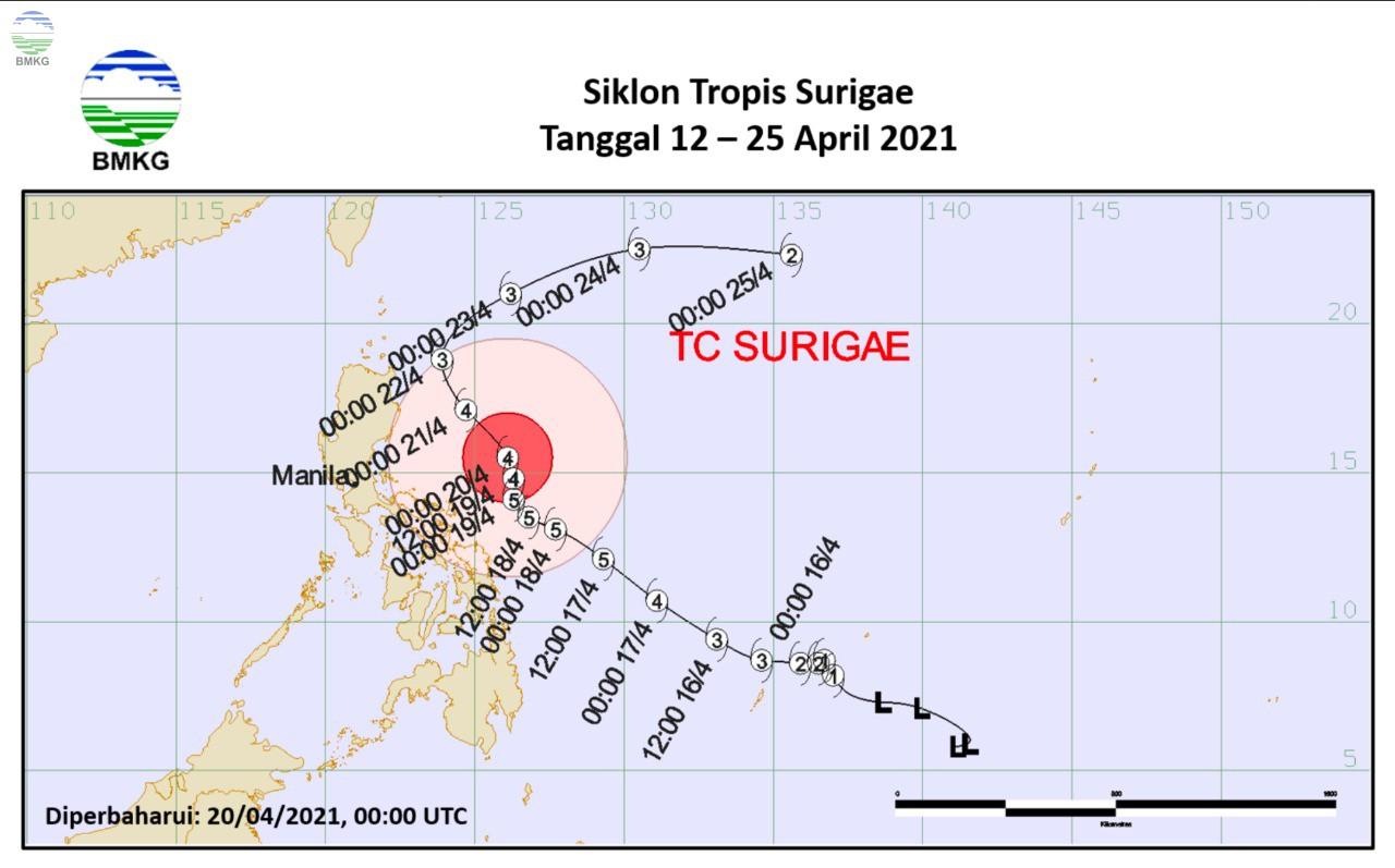 BMKG Sebut Typhoon Surigae Sangat Kuat, Ini Dampaknya Bagi Indonesia
