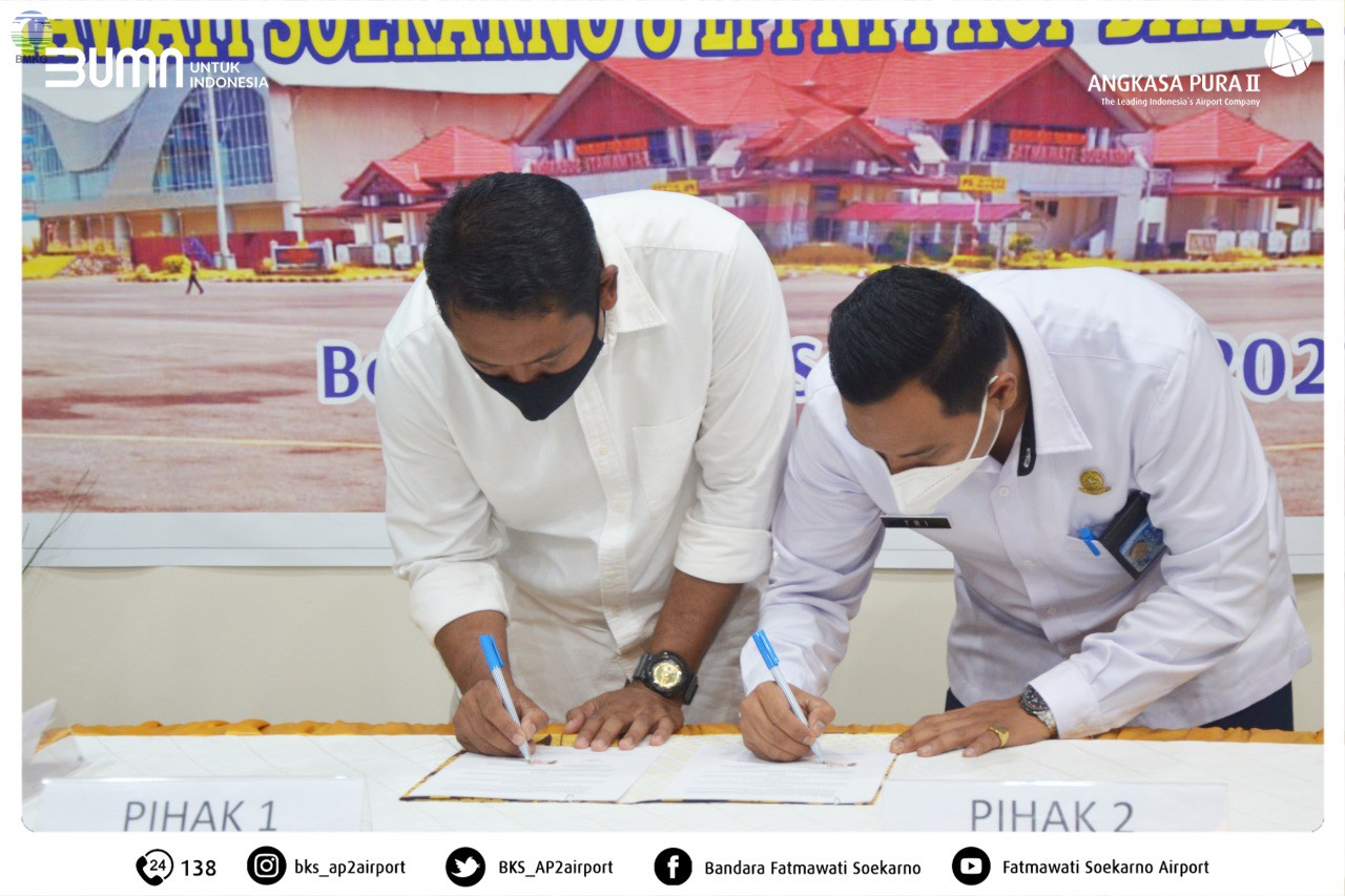 BMKG Bengkulu-PT. Angkasa Pura Il (Persero) dan Perum LPPNPI Bandar Udara Fatmawati Soekarno Bengkulu menggelar kegiatan Penandatanganan Perjanjian Kerja Sama