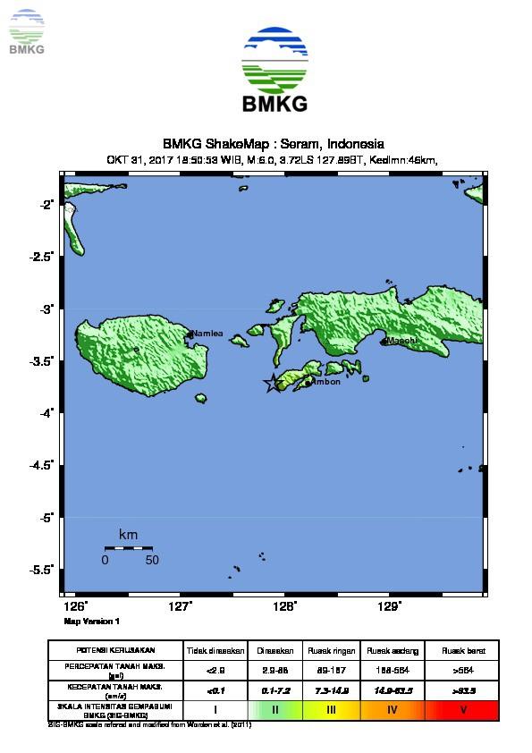 Ulasan Guncangan Tanah Akibat Gempabumi Ambon Maluku  31 Oktober 2017