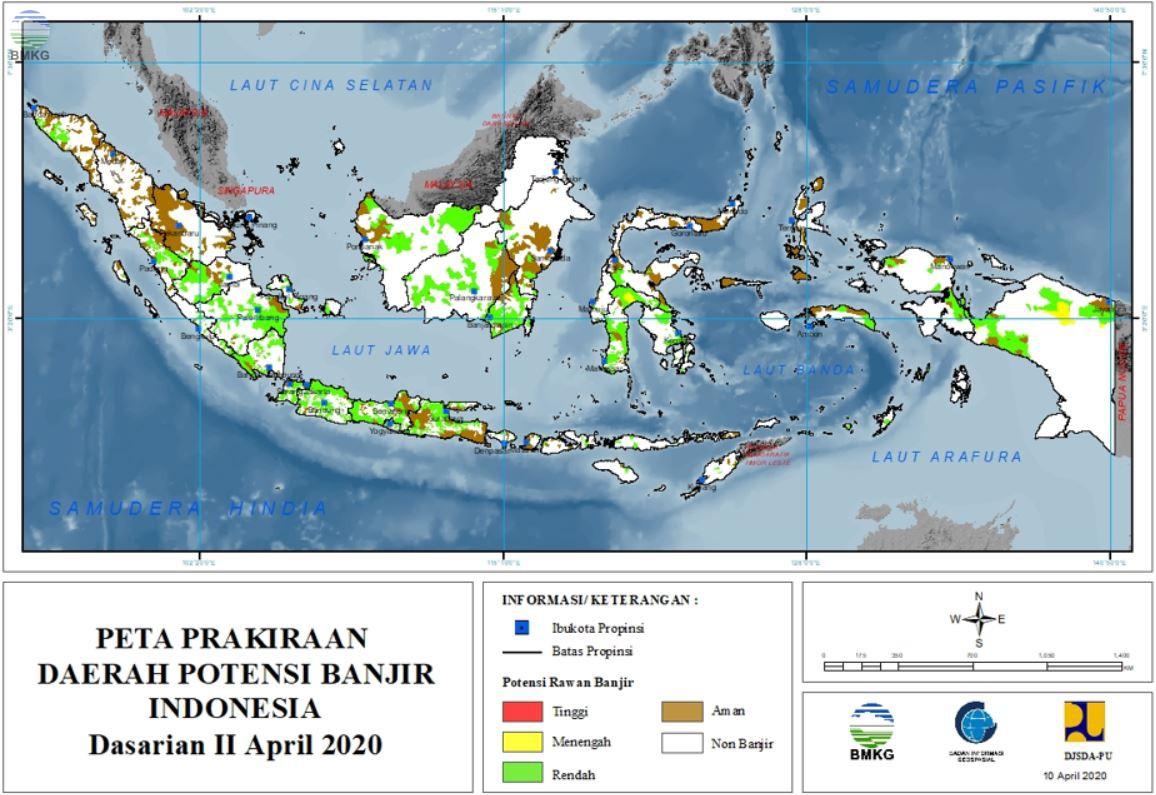 Prakiraan Daerah Potensi Banjir Dasarian II - III April dan I Mei 2020
