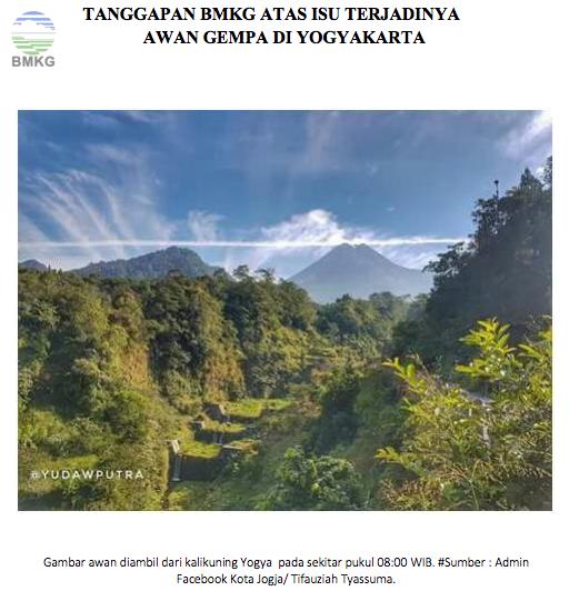 Press Release Tanggapan BMKG Atas Isu Terjadinya Awan Gempa di Yogyakarta