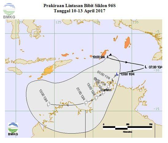 Bibit Siklon Tropis Terbentuk di Sekitar Laut Arafura (9 April 2017)