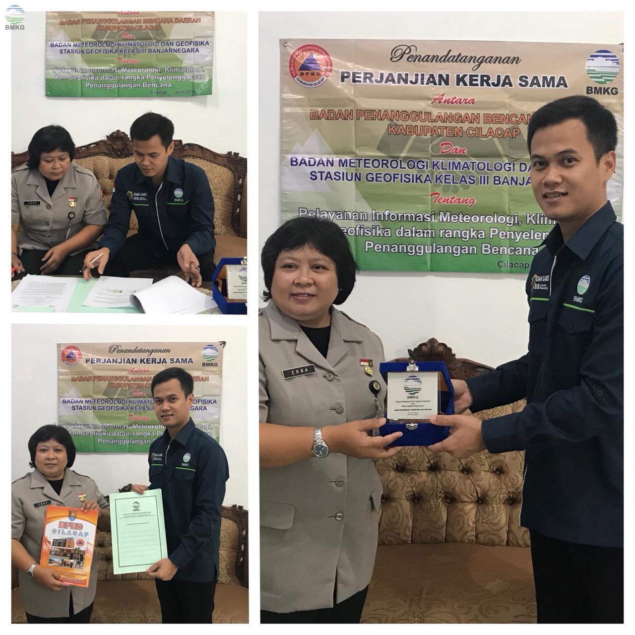 Penandatanganan PKS BMKG Stageof Banjarnegara dengan BPBD Kabupaten Cilacap