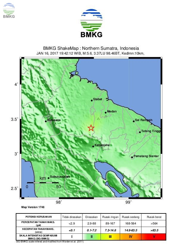 Ulasan Guncangan Tanah Akibat Gempa Deli Serdang Sumatera Utara 16 Januari 2017