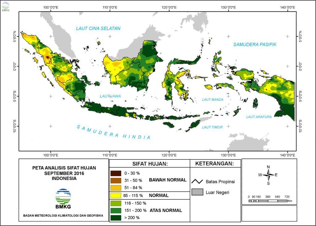 Analisis Curah Hujan dan Sifat Hujan Bulan September 2016
