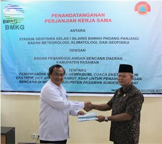 Penandatanganan PKS Stageof Padang Panjang - BPBD Kab. Pasaman