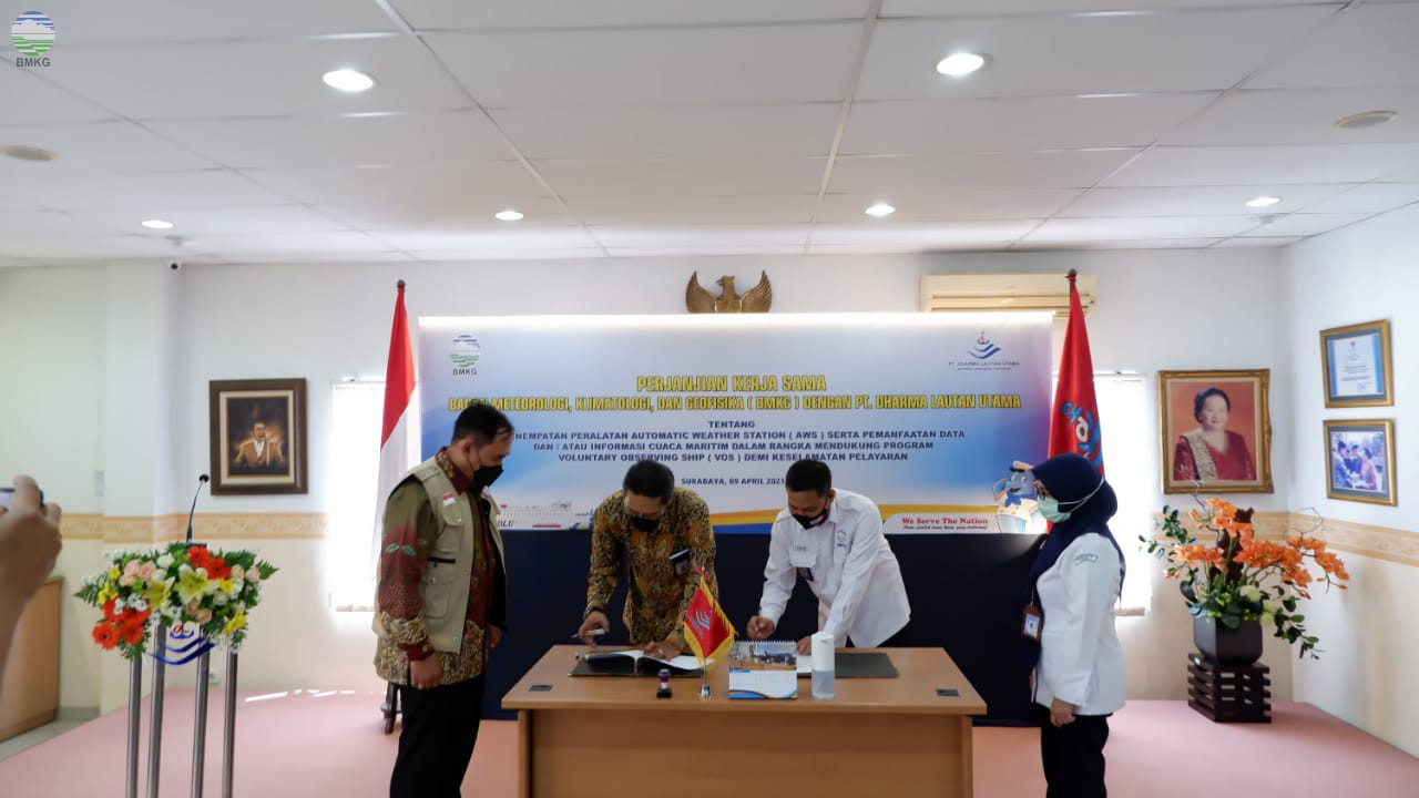 Penandatanganan Perjanjian Kerja Sama Antara Badan Meteorologi Klimatologi, dan Geofisika dengan PT. Dharma Lautan Utama