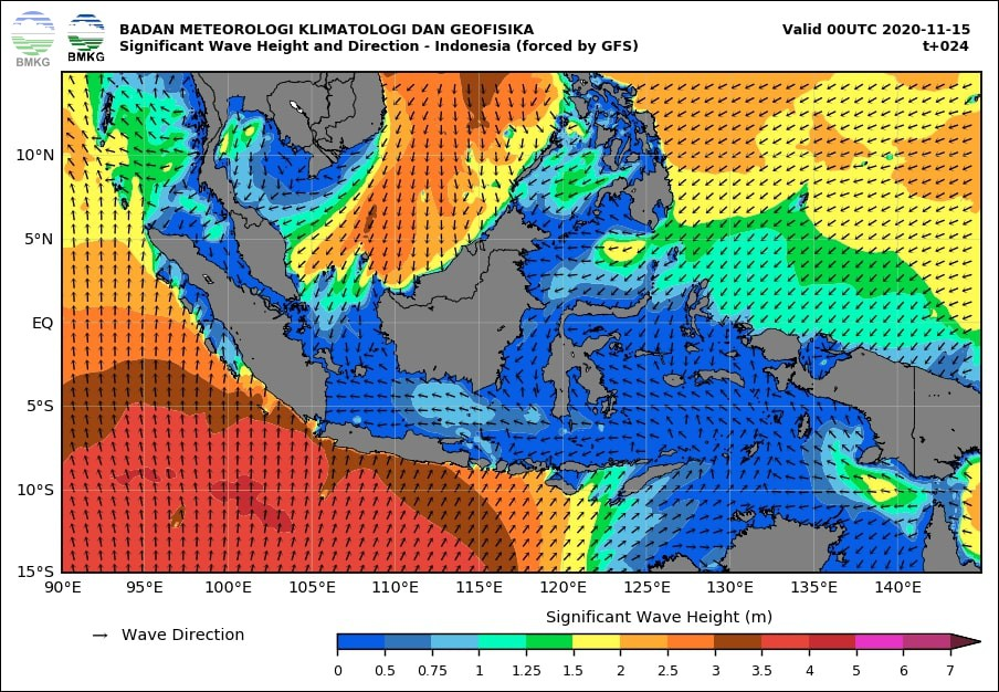 Waspada Gelombang Sangat Tinggi Hingga 4 Meter di Sejumlah Perairan Wilayah Indonesia, 14-16 November 2020