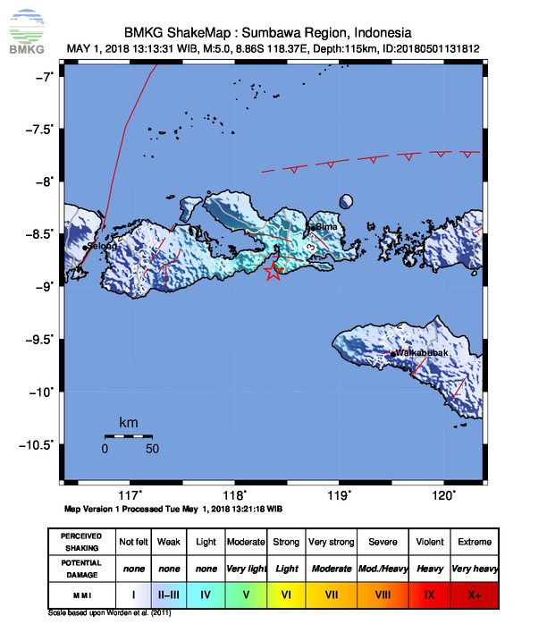 Dompu Diguncang Gempabumi M=4.9, Tidak Berpotensi Tsunami Masyarakat Diimbau Tetap Tenang