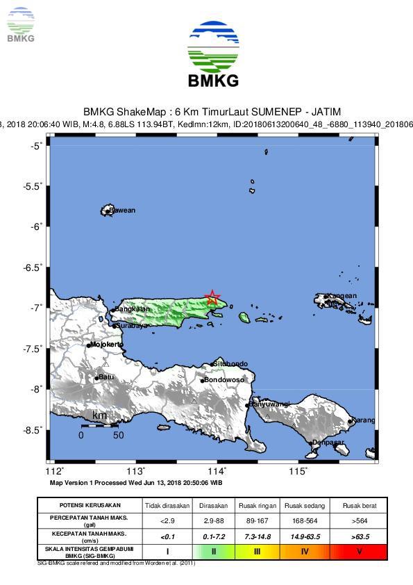 Gempabumi M=4.8 Mengguncang Sumenep, Jawa Timur, Tidak Berpotensi Tsunami