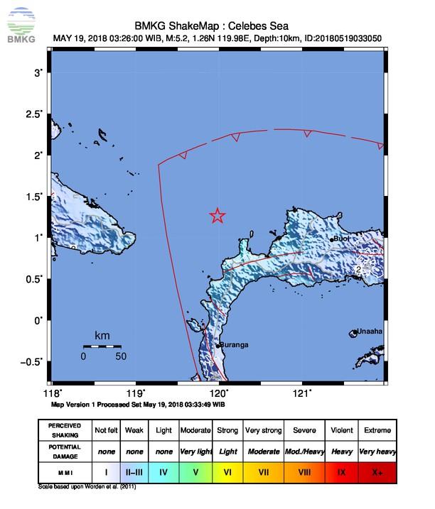 Gempabumi Tektonik M=5.0 Mengguncang Kabupaten Toli-Toli, Sulawesi Tengah