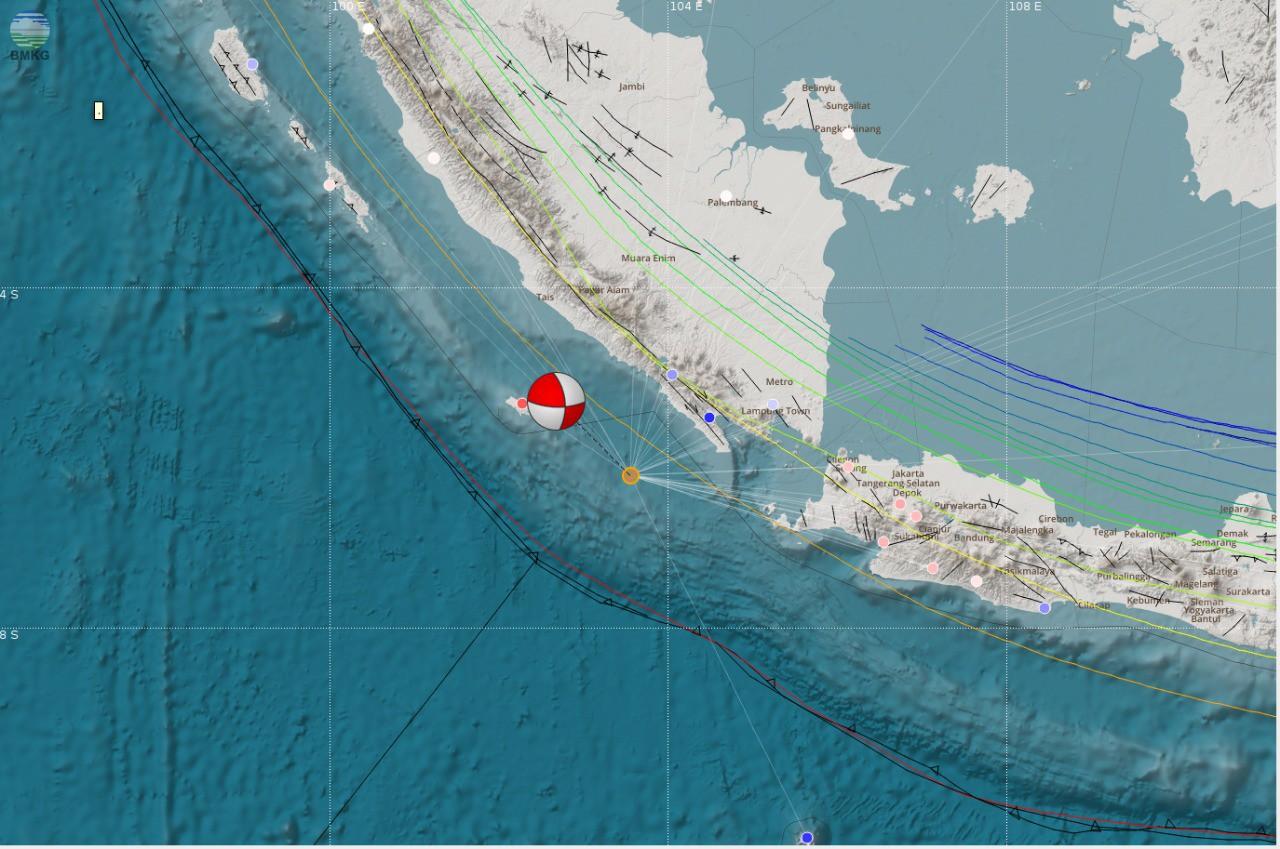 Gempabumi Tektonik M=5.0 Mengguncang Lampung, Rabu 6 Juni 2018 pukul 06:00 WIB, Tidak Berpotensi Tsunami