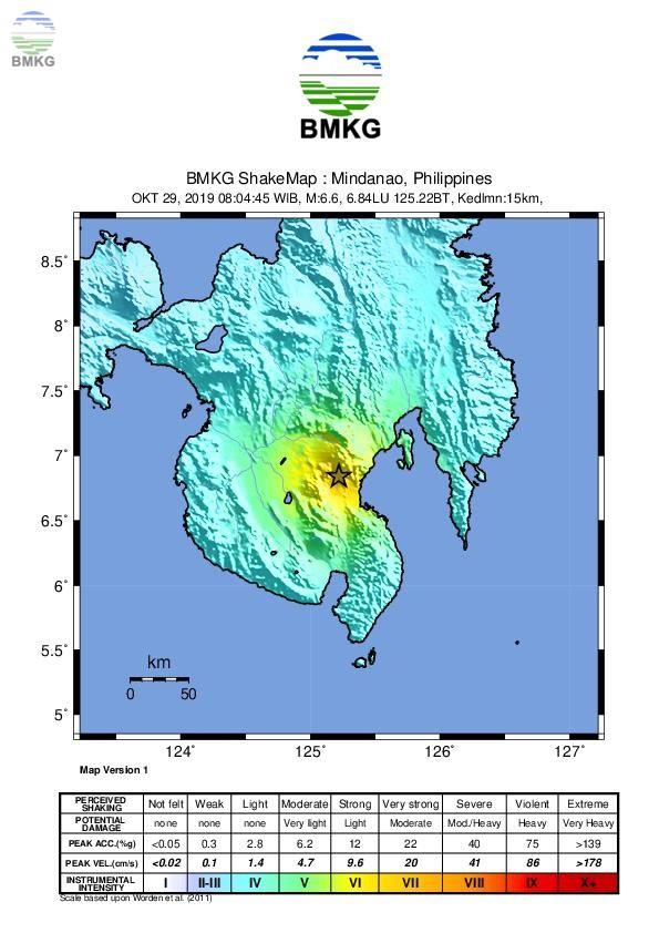 Gempabumi Tektonik M 6,8 Guncang Mindanao Filipina, Dirasakan Hingga Indonesia