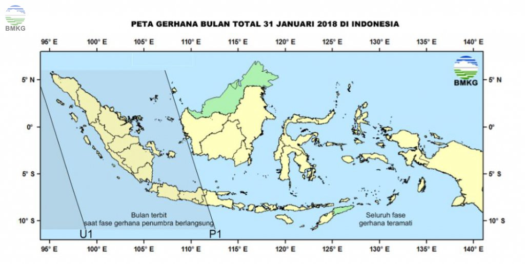 Gerhana Bulan Total 31 Januari 2018 di Indonesia