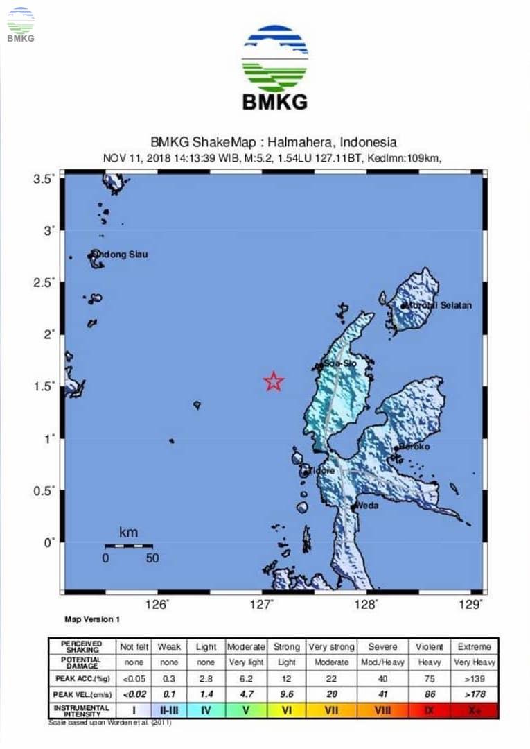 Gempabumi Tektonik M 5,5 Mengguncang Kabupaten Halmahera Barat, Tidak Berpotensi Tsunami