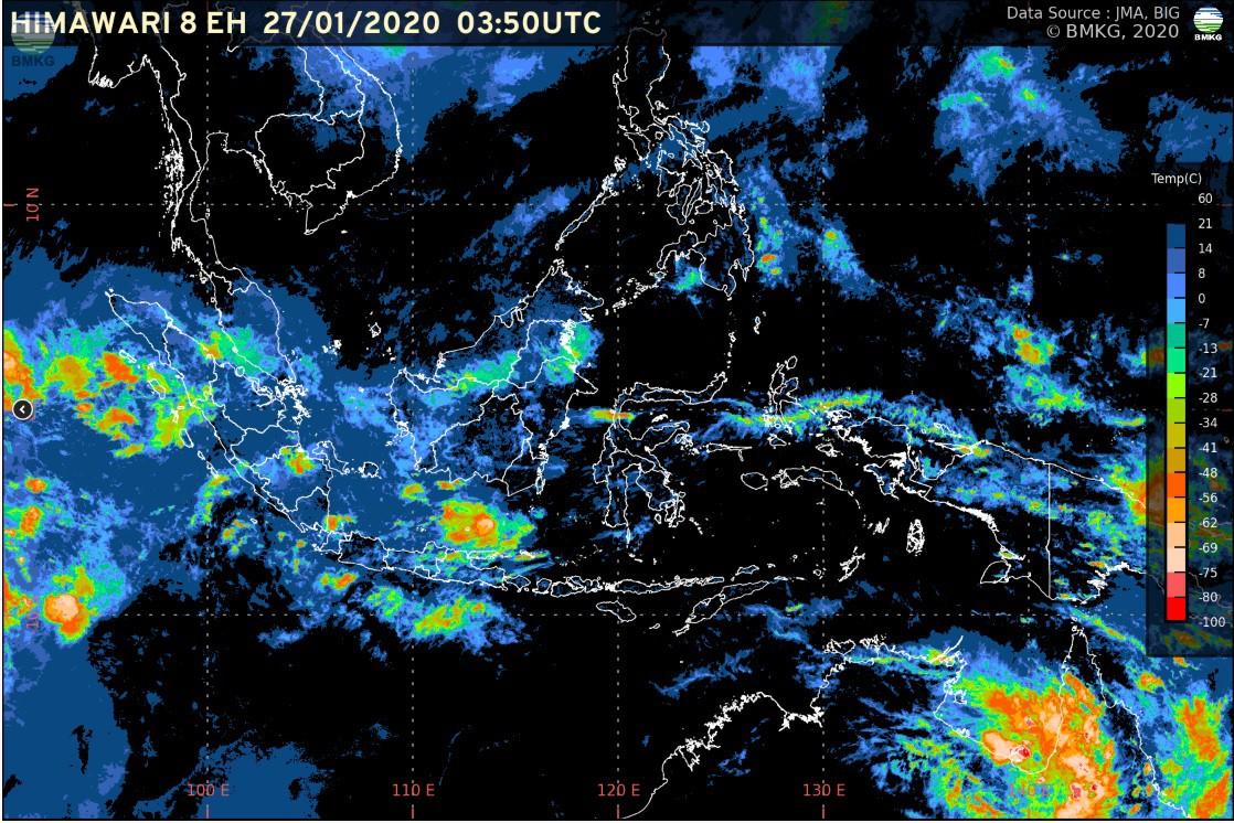 Pemutakhiran Rilis BMKG: Waspada Potensi Hujan Lebat (28 Januari-3 Februari 2020)