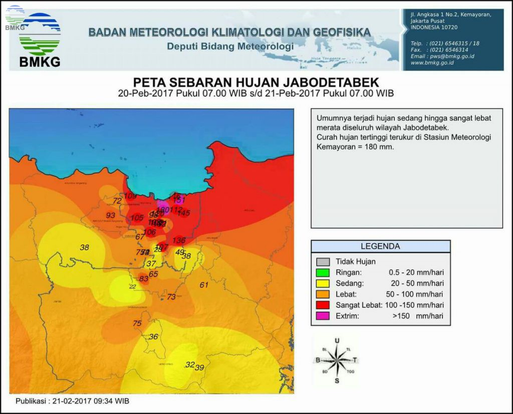 Dampak Hujan Lebat JABODETABEK, Ini Analisis BMKG