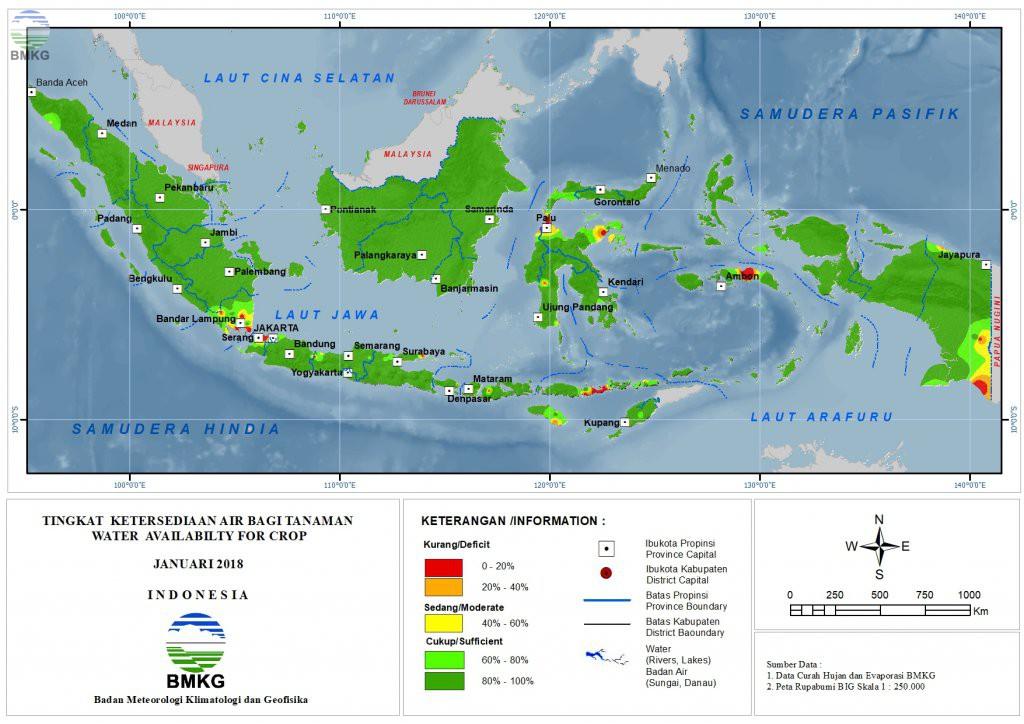Ketersediaan Air Tanah di Indonesia Januari 2018