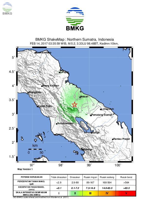 Ulasan Guncangan Tanah Akibat Gempa Deliserdang Sumatera Utara 14 Februari 2017