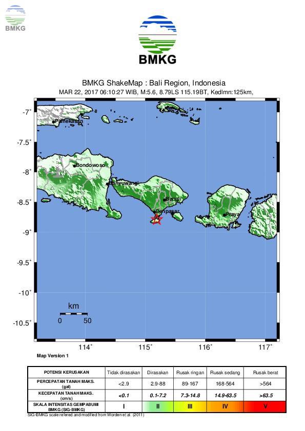 Ulasan Guncangan Tanah  Akibat Gempabumi Tenggara Denpasar Bali 22 MARET 2017
