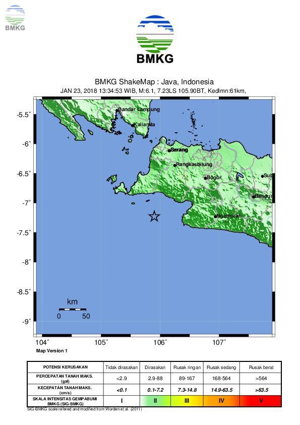 Ulasan Guncangan Tanah Akibat Gempabumi Kabupaten Lebak Banten 23 Januari 2018