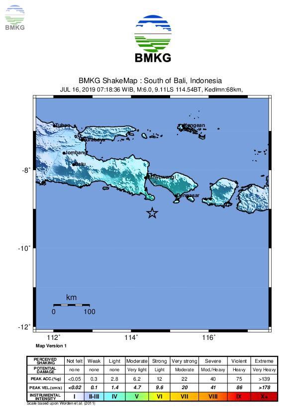 Ulasan Guncangan Tanah  Akibat Gempabumi di Selatan Bali 16 Juli 2019