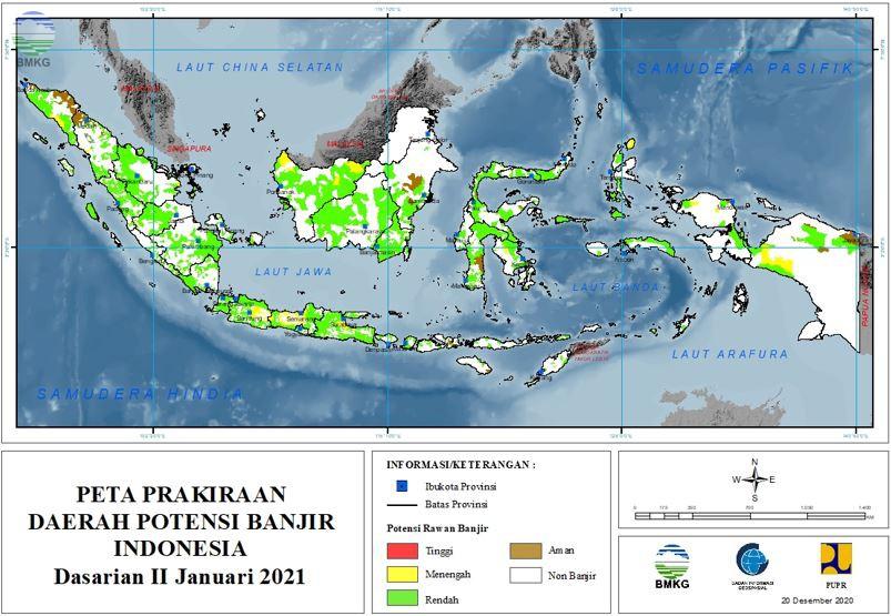 Prakiraan Daerah Potensi Banjir Dasarian III Desember 2020 ...